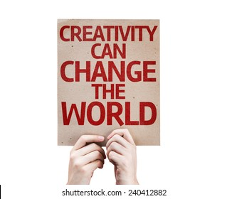 Creativity Can Change The World card isolated on white background