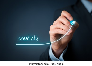 Creativity improvement concept. Businessman plan creativity growth.