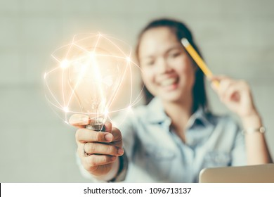 Creativity and innovative are keys to success.Concept of new idea and innovation with light bulbs.
