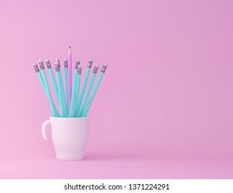 Creativity inspiration education concepts with pencil and cup on pink pastel color background. minimal ideas concept.