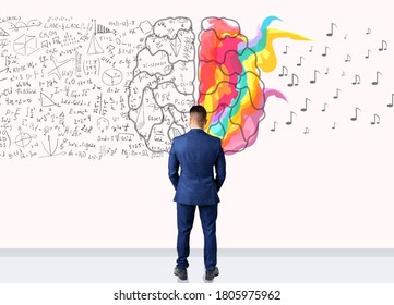 Creativity Vs Logic, Brainwork Collage. Businessman Standing Back To Camera Over White Background With Brain Halves.