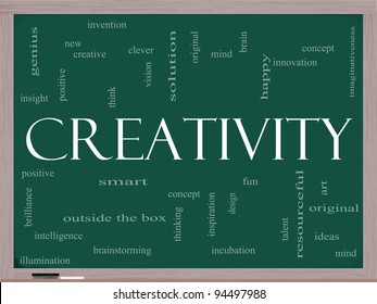 Creativity Word Cloud Concept on a Chalkboard with great terms such as happy, innovation, fun, incubation, ideas and more.