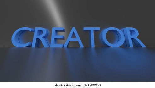 Creator concept word - blue text on grey background.