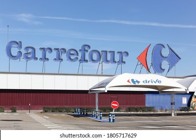 Creches, France - March 15, 2020: Carrefour hypermarket and drive. Carrefour is a french multinational retailer headquartered in France and it is one of the largest hypermarket chains in the world