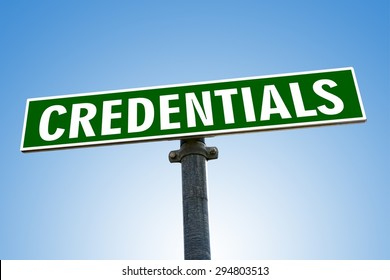 CREDENTIALS word on green road sign