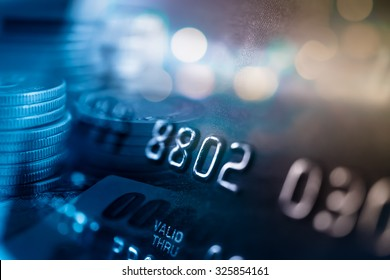 Credit card in blur style for background