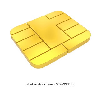 Credit Card Chip Isolated. 3D rendering