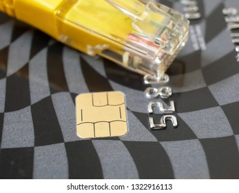 Credit card with chip and network cable