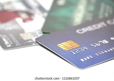 Credit card close up shot with selective focus for background.