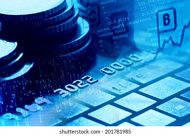 Credit card, coins and modern technologies.