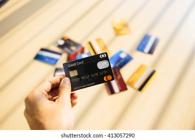 Credit card concept with window light on desk