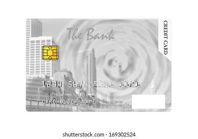Credit card design featuring Embarcadero in San Francisco, isolated on white background.