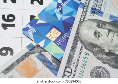 Credit card and dollar money. Concepts of  finance, banking, debt.