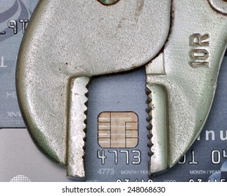 credit card with fix tool, credit repair or credit fix concept