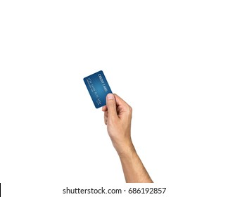 Credit card hand holding isolated on white background