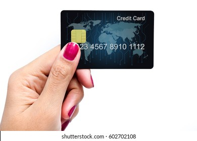 Credit Card holded by hand, close up, isolated on a white background