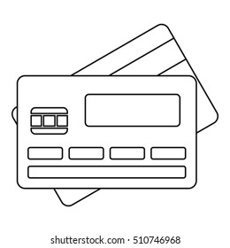Credit card icon. Outline illustration of credit card  icon for web