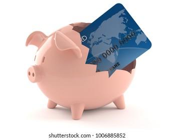 Credit card inside broken piggy bank isolated on white background. 3d illustration