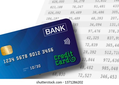 Credit card lying on a spreadsheet background with numbers in colums. Accounting or banking concept.