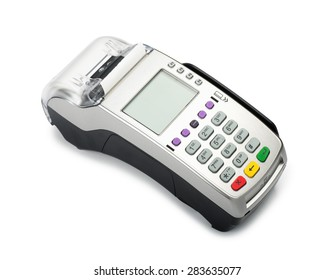 Credit card machine reader isolated on a white background