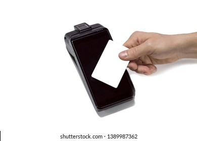 Credit card machine for small business. Touchscreen NFC payment terminal. Customer hand holding plastic card. Closeup, mockup white credit card for bank logo, isolated.