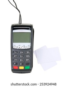 Credit card machine and white cards isolated on white background