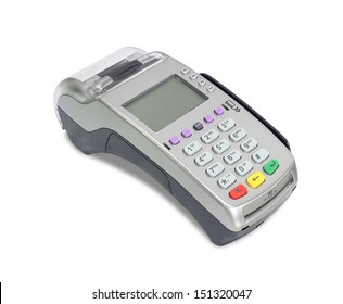 Credit card machine (with clipping path) isolated on white background