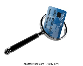 Credit card with magnifying glass isolated on white background. 3d illustration