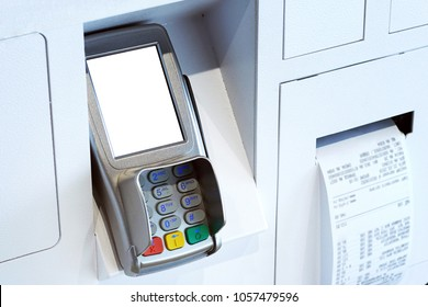 A credit card messenger terminal with an established receipt for servicing a debit card.