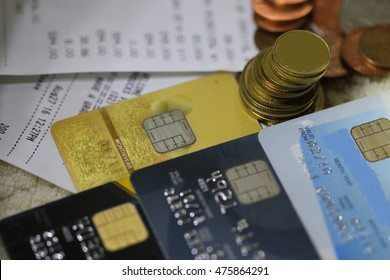 credit card and money on blurry background, pocket money in blue jeans,saving and payment concept