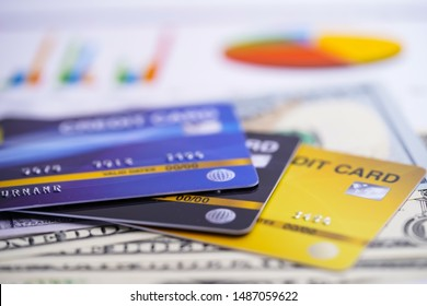 Credit card on chart and graph spreadsheet paper. Finance development, Banking Account, Statistics, Investment Analytic research data economy, Stock exchange trading, Business company concept.