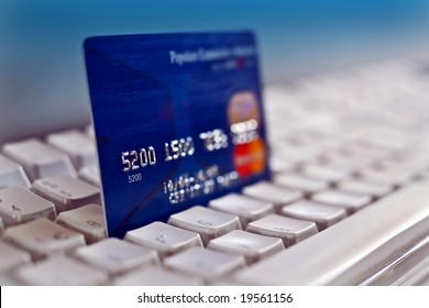 Credit card on a computer keyboard 02