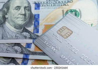 Credit Card on dollar bills as wealthy concept