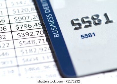 Credit Card on an invoice with financial numbers
