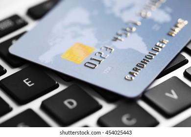 Credit card on keyboard, closeup