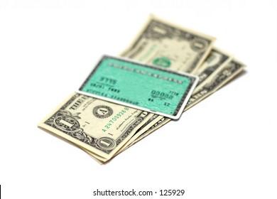 credit card on money