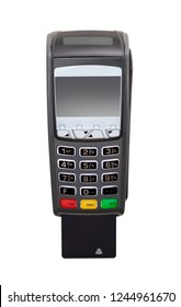 Credit card payment terminal on white background.