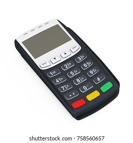 Credit Card Payment Terminal on a white background. 3d Rendering