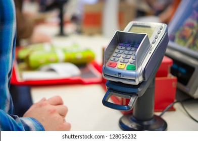 Credit Card payment Terminal in restaurant