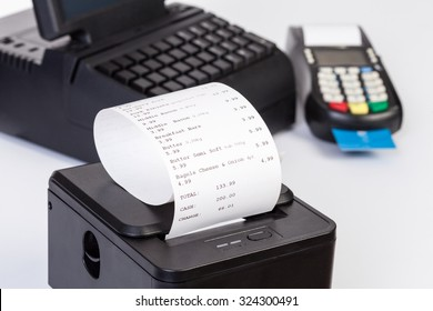 Credit Card Processor, Receipt Printer with paper shopping bill   and Touchscreen  isolated on white background