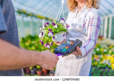 Credit card purchase in the flower nursery. Buying flowers directly from the vendor. Credit card payment for a tray of flowers. Man paying for flowers with his debit card. Credit card payment
