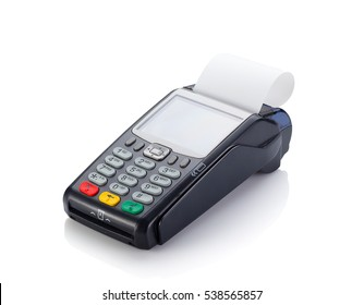 Credit card reader isolated on white background.