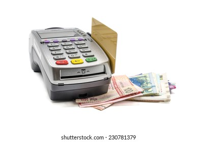 Credit card and card reader machine with banknotes , isolated on white background