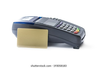 Credit card and card reader machine isolated on white background