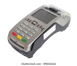 credit card reader machine, isolated on white background with clipping path