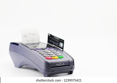 Credit card reader machine and smart card on white background