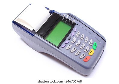 Credit card reader on white background, payment terminal, finance concept