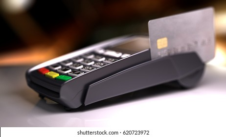 Credit Card Reader with card passed. 3d illustration