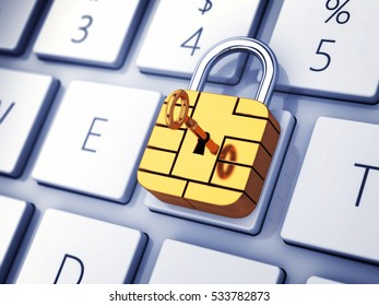 Credit card security chip as padlock on computer keyboard , Safe banking and online shopping , 3d illustration