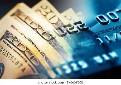 Credit card. Selective focus.